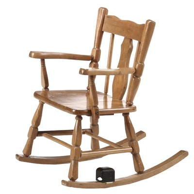 Vintage Colonial Style Maple Child's Rocking Chair, Circa 1950s