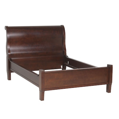 Contemporary Sleigh Style Mahogany Finish Queen Size Bed