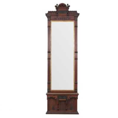 Eastlake Victorian Hardwood Wall Mirror, Early to Mid 20th Century