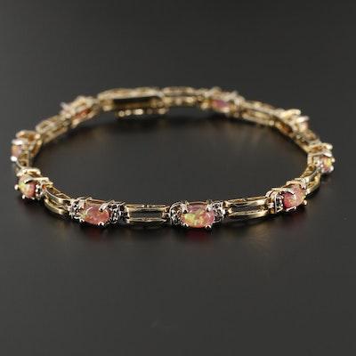Sterling Silver Opal Doublet and Diamond Line Bracelet