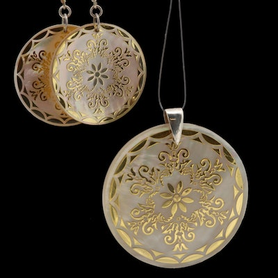 Sterling Silver Mother of Pearl Mandala Motif Earrings and Pendant Set