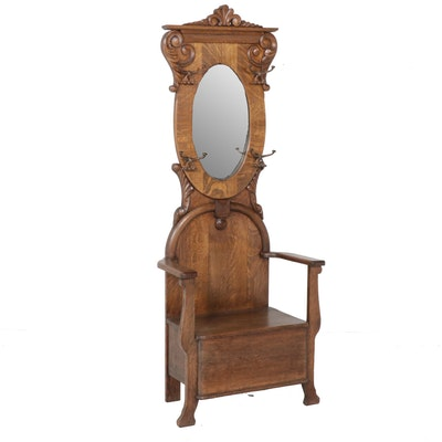 Late Victorian Oak Hall Seat