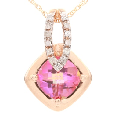 10K Rose Gold Topaz and Diamond Pendant on Yellow Gold Chain