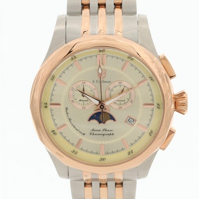 S. Coifman Two Tone Moon Phase Chronograph Wristwatch