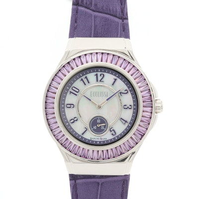 Ecclissi Sterling Silver and Amethyst Quartz Wristwatch With Mother of Pearl