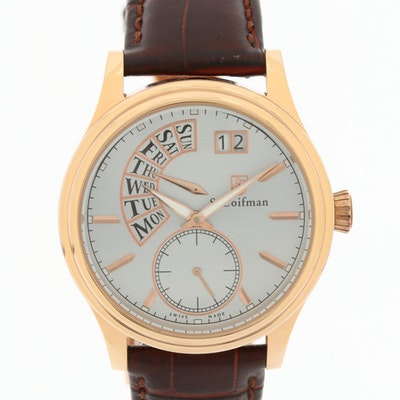S. Coifman SC0290 Gold Tone Quartz Wristwatch With Day-Date
