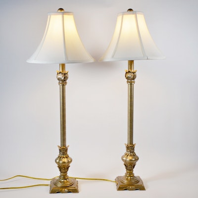 Pair of Berman Mottled Silver and Gilt Resin Buffet Lamps, Contemporary