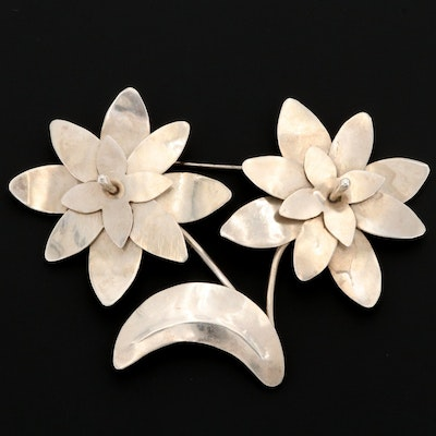 Mexican Sterling Silver Flower Brooch