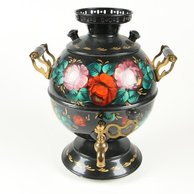 Russian Hand-Painted Electric Samovar, 1993