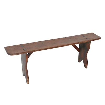 Handcrafted Wooden Bootjack Bench, Early 20th Century