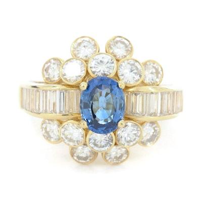 18K Yellow Gold 1.14 CT Sapphire and 2.42 CTW Diamond Ring