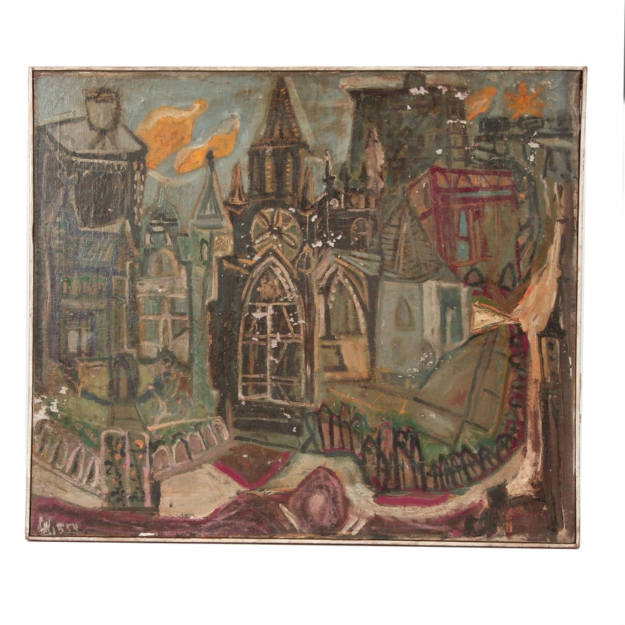 Abstract Oil Painting of Cityscape with Church