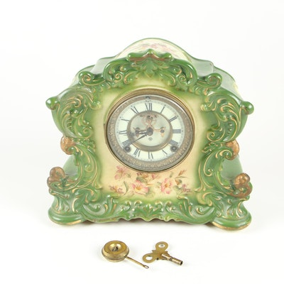 "Ansonia ""Reflex"" Royal Bonn Style Ceramic Mantel Clock"