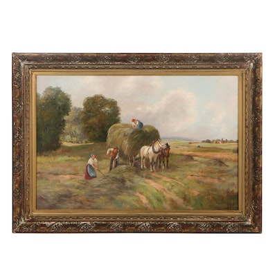 E. Hofer Pastoral Landscape Oil Painting