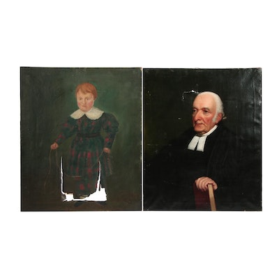 Early 20th Century American School and Folk Oil Portraits