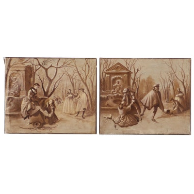 Late 19th Century Continental Oil Paintings of Park Scene with Figures