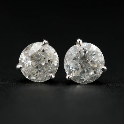 14K White Gold 1.96 CTW Diamond Stud Earrings