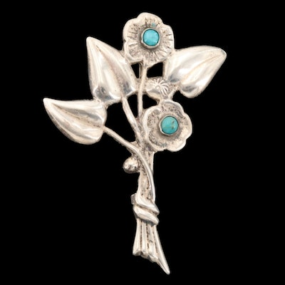 Vintage Mexican 900 Silver Turquoise Flower Brooch