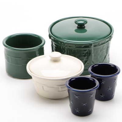 "Longaberger Pottery Ceramic ""Woven Drum"" Crocks and Votives"