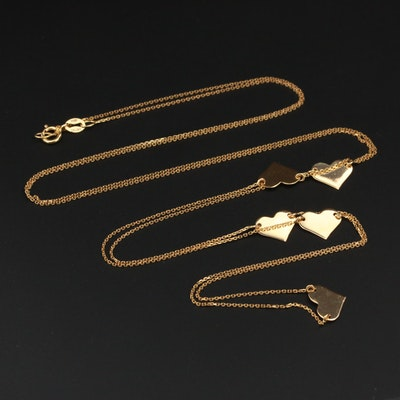 """14K Yellow Gold """"Heart Station"""" Necklace"""