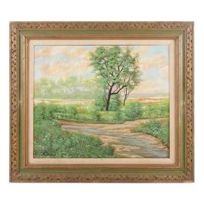 Oil Painting of Verdant Summer Landscape