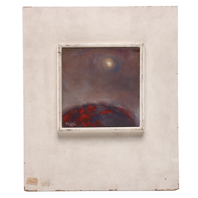 "Abstract Oil Painting on Tile ""Kilagawa Landscape"""