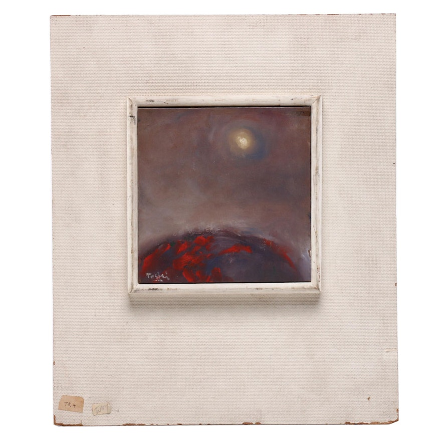 """Abstract Oil Painting on Tile """"Kilagawa Landscape"""""""