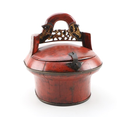 Chinese Red Lacquered and Parcel Gilt Wooden Wedding Basket