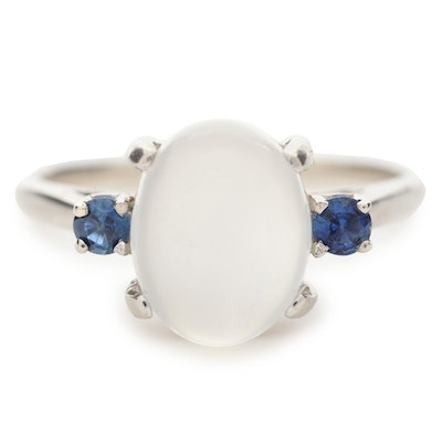 14K White Gold Moonstone and Sapphire Ring