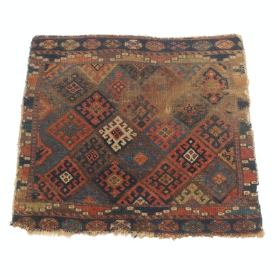 2'4 x 2'6 Hand-Knotted Persian Kurdish Rug, circa 1890