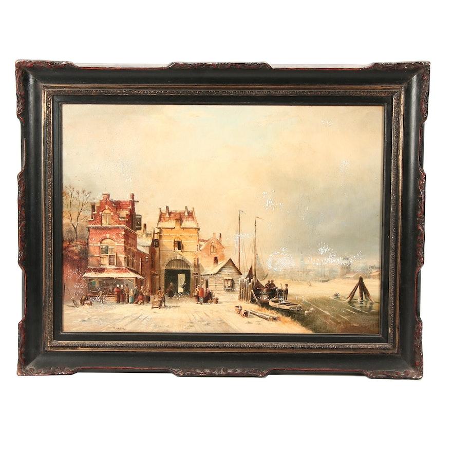 Koekkoek Oil Painting of 19th Century European Dock Scene