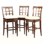 "Frontgate, Matched Set of Three ""Napa"" Swivel Bar Stools"