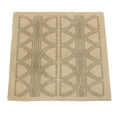 3'0 x 3'0 Hand-Knotted Indo Mid-Century Modern Style Rug