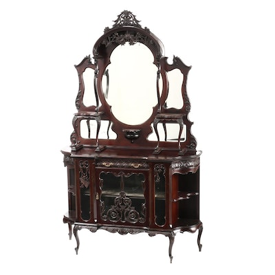 Late Victorian Carved Mahogany and Mirrored Glass Étagère, Circa 1900