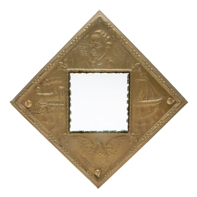 Antique Hammered Brass Americana Wall Mirror, Early 1900s