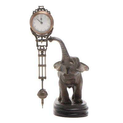 Junghans Bronzed Spelter Figural Novelty Elephant Swinging Clock, Early 20th C.
