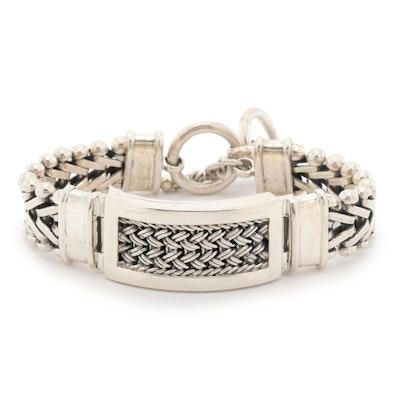 Sterling Silver Bracelet With Basket Weave Accent