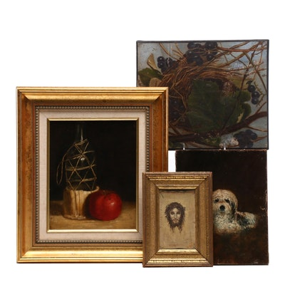 Still Life, Nature and Religious Themed Oil Paintings