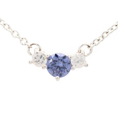 Sterling Silver Tanzanite and Cubic Zirconia Necklace
