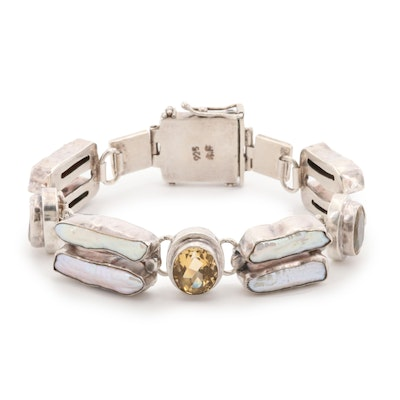 Sterling Silver Citrine and Cultured Pearl Bracelet