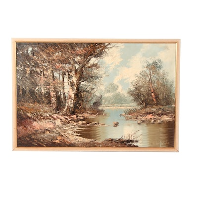 Late 20th Century Landscape Oil Painting of River Scene, Signed Hochfeld