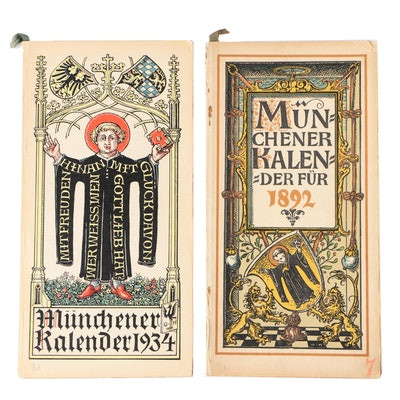 1892 and 1934 Münchener Kalender with Otto Hupp Colored Woodcuts