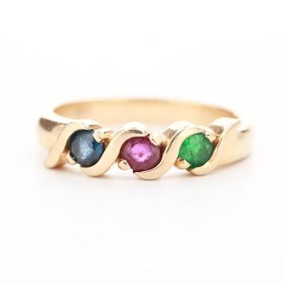 14K Yellow Gold Emerald, Blue Sapphire and Ruby Ring