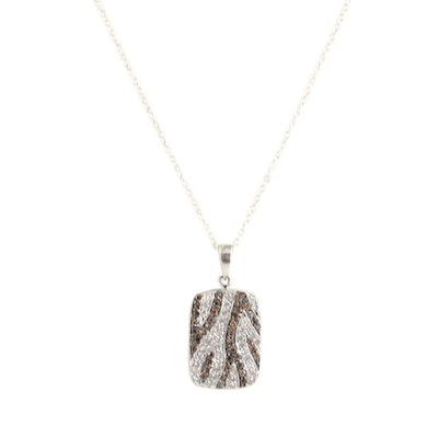 10K White Gold Diamond Pendant on Sterling Silver Chain Necklace