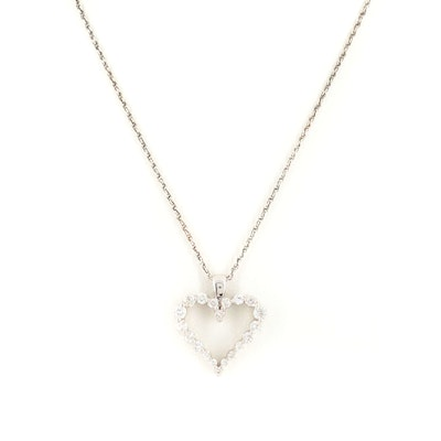 14K White Gold Diamond Heart Pendant on Sterling Silver Chain Necklace