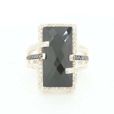 Sterling Silver Black Cubic Zirconia and Diamond Ring
