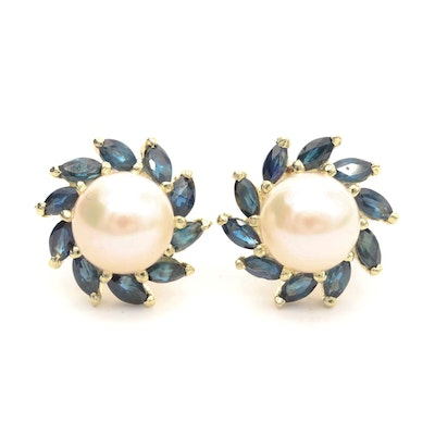 14K Yellow Gold Cultured Pearl and Sapphire Earrings