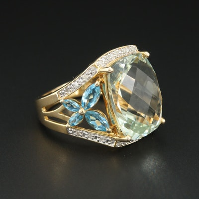 Sterling Silver Ring with Prasiolite, Blue Topaz and Diamond