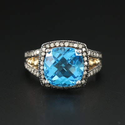 Sterling Silver Blue Topaz and Diamond Ring with 10K Yellow Gold Accents