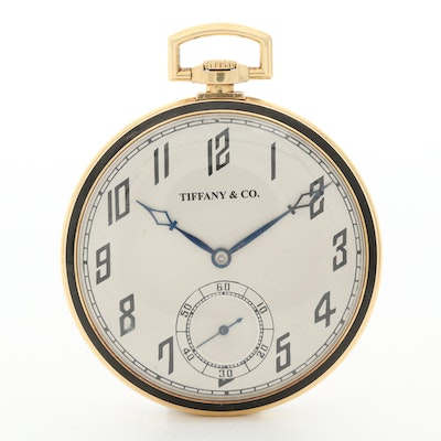 Vintage I.W.C. For Tiffany & Co. 18K Gold and Enamel Open Face Pocket Watch